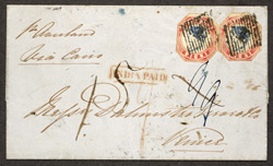 India: 1854 4 annas blue and pale red, error head inverted, two used on cover.